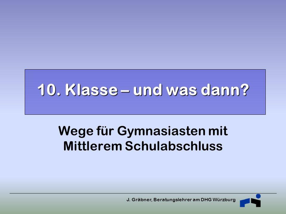 J. Gräbner, Beratungslehrer am DHG Würzburg 10. Klasse – und was dann? Wege für Gymnasiasten mit Mittlerem Schulabschluss
