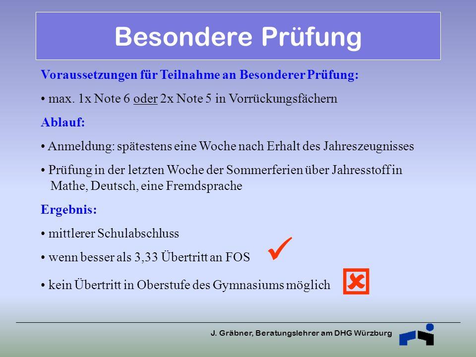 J. Gräbner, Beratungslehrer am DHG Würzburg Besondere Prüfung Voraussetzungen für Teilnahme an Besonderer Prüfung: max. 1x Note 6 oder 2x Note 5 in Vo