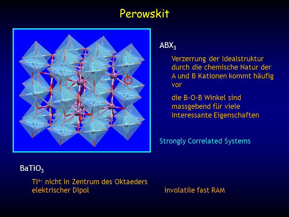 Perowskit ABX 3 Verzerrung der Idealstruktur durch die chemische Natur der A und B Kationen kommt häufig vor die B-O-B Winkel sind massgebend für viel