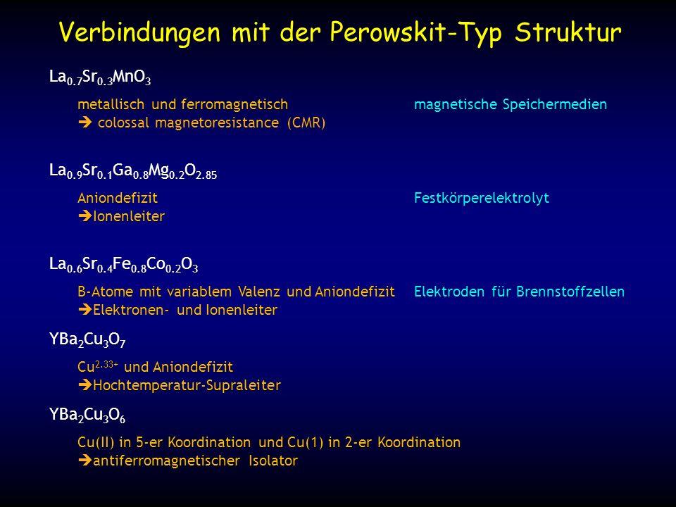 Verbindungen mit der Perowskit-Typ Struktur La 0.7 Sr 0.3 MnO 3 metallisch und ferromagnetischmagnetische Speichermedien colossal magnetoresistance (C