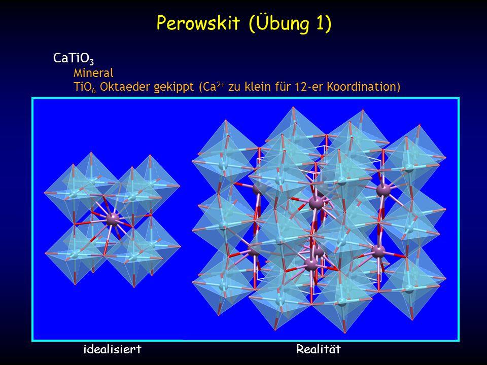 x y Projektion der idealisierten Struktur Ca Ti O z = 0 z = 1/2 Koordinationspolyeder TiKZ=6Oktaeder CaKZ=12Kuboktaeder Ca000 Ti1/21/21/2 O01/21/2 Perowskit (Übung 1)