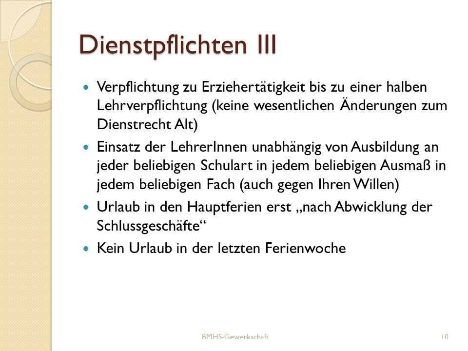 Dienstpflichten III Verpflichtung zu Erziehertätigkeit bis zu einer halben Lehrverpflichtung (keine wesentlichen Änderungen zum Dienstrecht Alt) Einsa