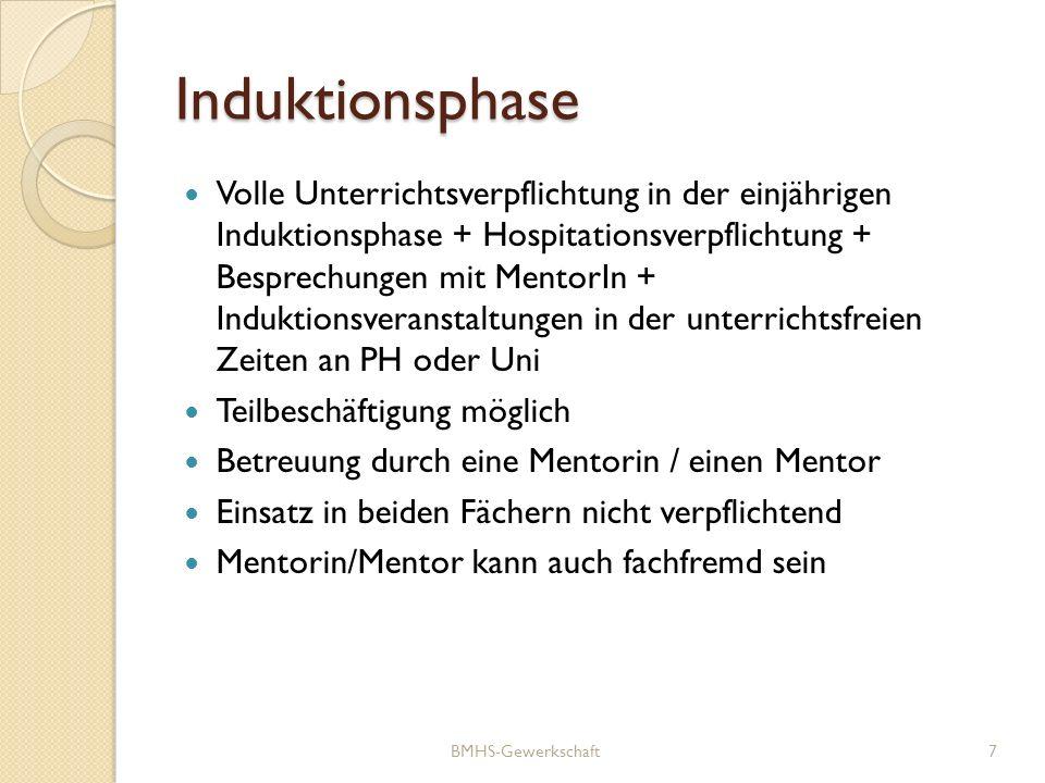 Induktionsphase Volle Unterrichtsverpflichtung in der einjährigen Induktionsphase + Hospitationsverpflichtung + Besprechungen mit MentorIn + Induktion