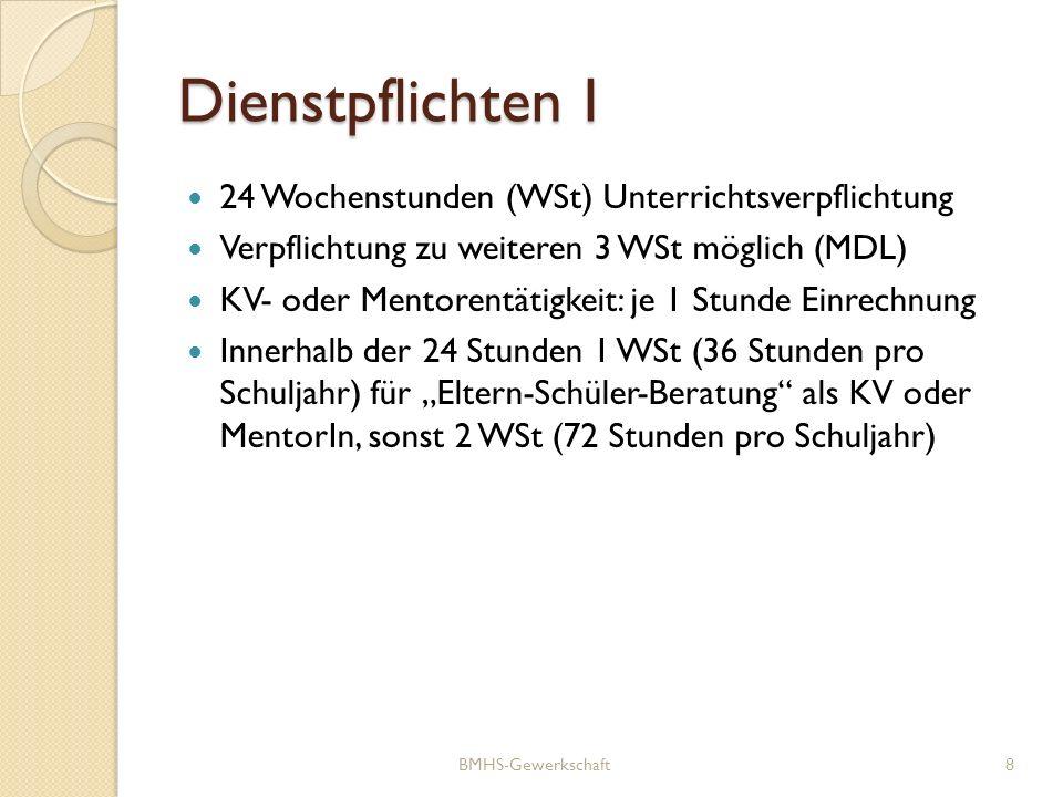 Dienstpflichten I 24 Wochenstunden (WSt) Unterrichtsverpflichtung Verpflichtung zu weiteren 3 WSt möglich (MDL) KV- oder Mentorentätigkeit: je 1 Stund