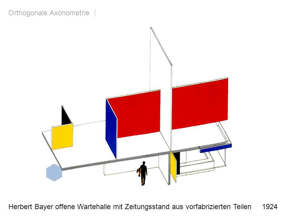 Herbert Bayer offene Wartehalle mit Zeitungsstand aus vorfabrizierten Teilen 1924 Orthogonale Axonometrie | allgemeine Blickrichtung