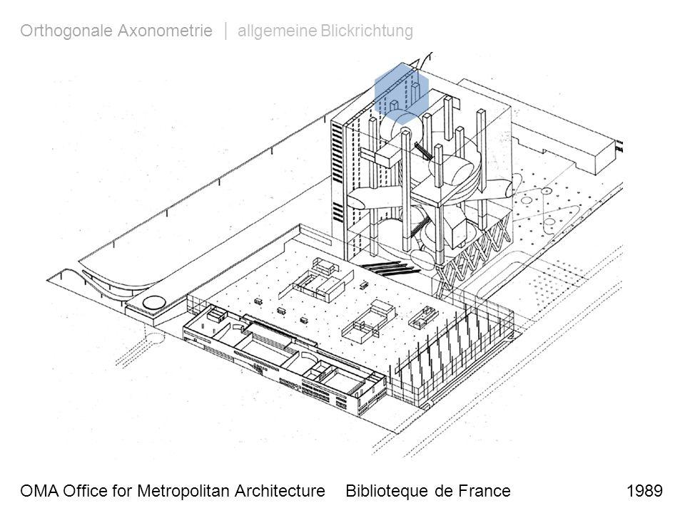 OMA Office for Metropolitan Architecture Biblioteque de France 1989 Orthogonale Axonometrie | allgemeine Blickrichtung