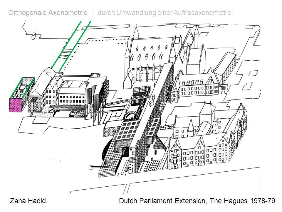 Zaha Hadid Dutch Parliament Extension, The Hagues 1978-79 Orthogonale Axonometrie | durch Umwandlung einer Aufrissaxonometrie