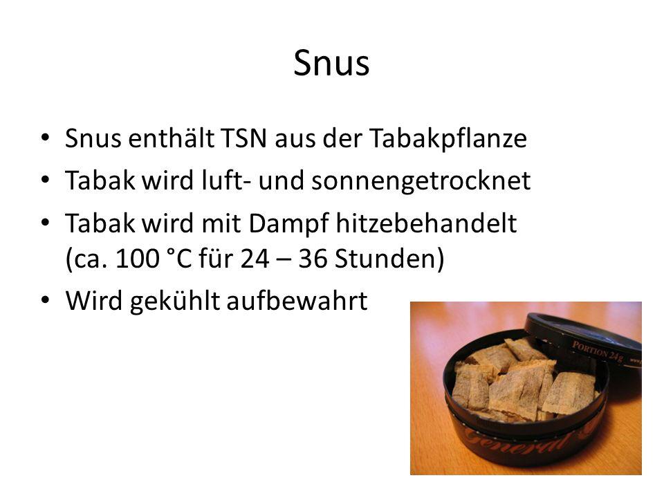Snus Snus enthält TSN aus der Tabakpflanze Tabak wird luft- und sonnengetrocknet Tabak wird mit Dampf hitzebehandelt (ca. 100 °C für 24 – 36 Stunden)