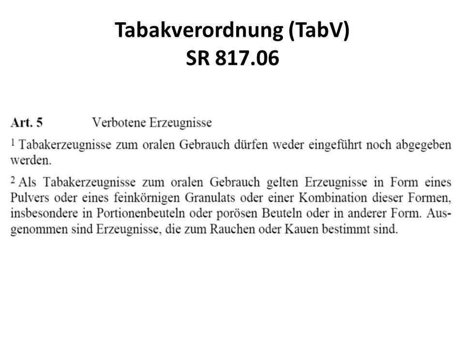 Tabakverordnung (TabV) SR 817.06