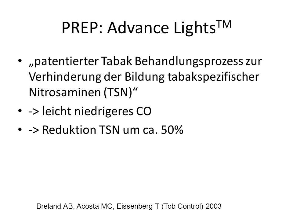 PREP: Advance Lights TM patentierter Tabak Behandlungsprozess zur Verhinderung der Bildung tabakspezifischer Nitrosaminen (TSN) -> leicht niedrigeres