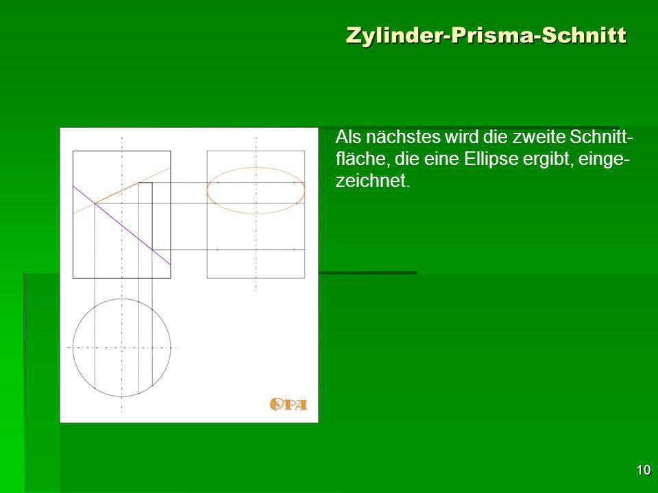 10 Zylinder-Prisma-Schnitt Als nächstes wird die zweite Schnitt- fläche, die eine Ellipse ergibt, einge- zeichnet.