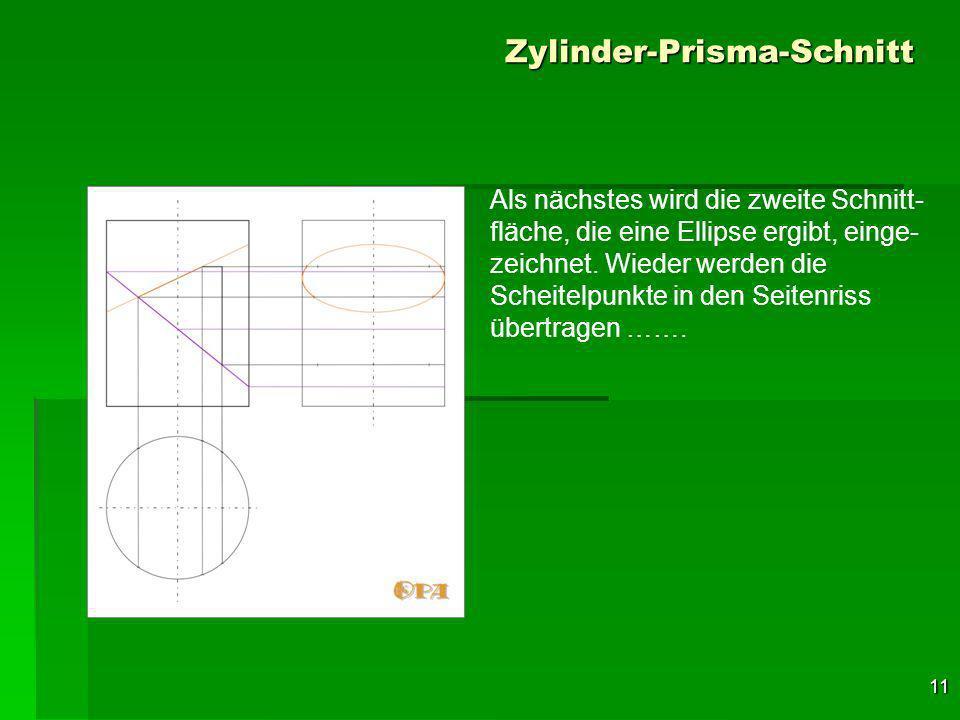 11 Zylinder-Prisma-Schnitt Als nächstes wird die zweite Schnitt- fläche, die eine Ellipse ergibt, einge- zeichnet.