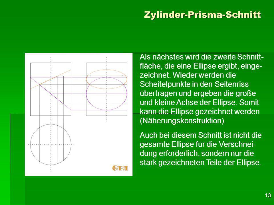 13 Zylinder-Prisma-Schnitt Als nächstes wird die zweite Schnitt- fläche, die eine Ellipse ergibt, einge- zeichnet.