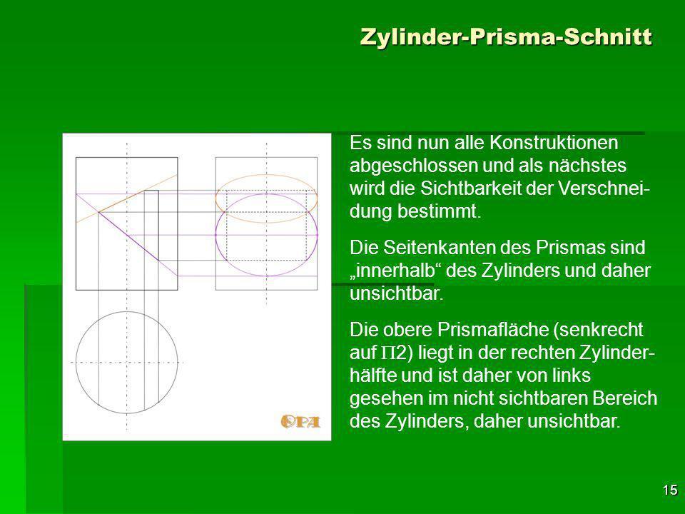 15 Zylinder-Prisma-Schnitt Es sind nun alle Konstruktionen abgeschlossen und als nächstes wird die Sichtbarkeit der Verschnei- dung bestimmt.