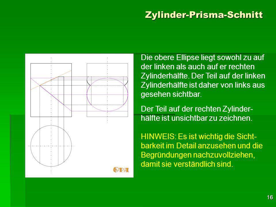 16 Zylinder-Prisma-Schnitt Die obere Ellipse liegt sowohl zu auf der linken als auch auf er rechten Zylinderhälfte.