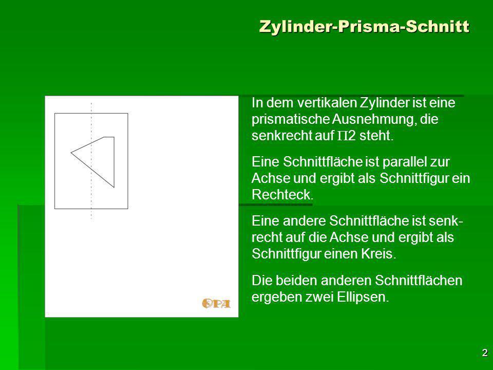 2 Zylinder-Prisma-Schnitt In dem vertikalen Zylinder ist eine prismatische Ausnehmung, die senkrecht auf 2 steht.
