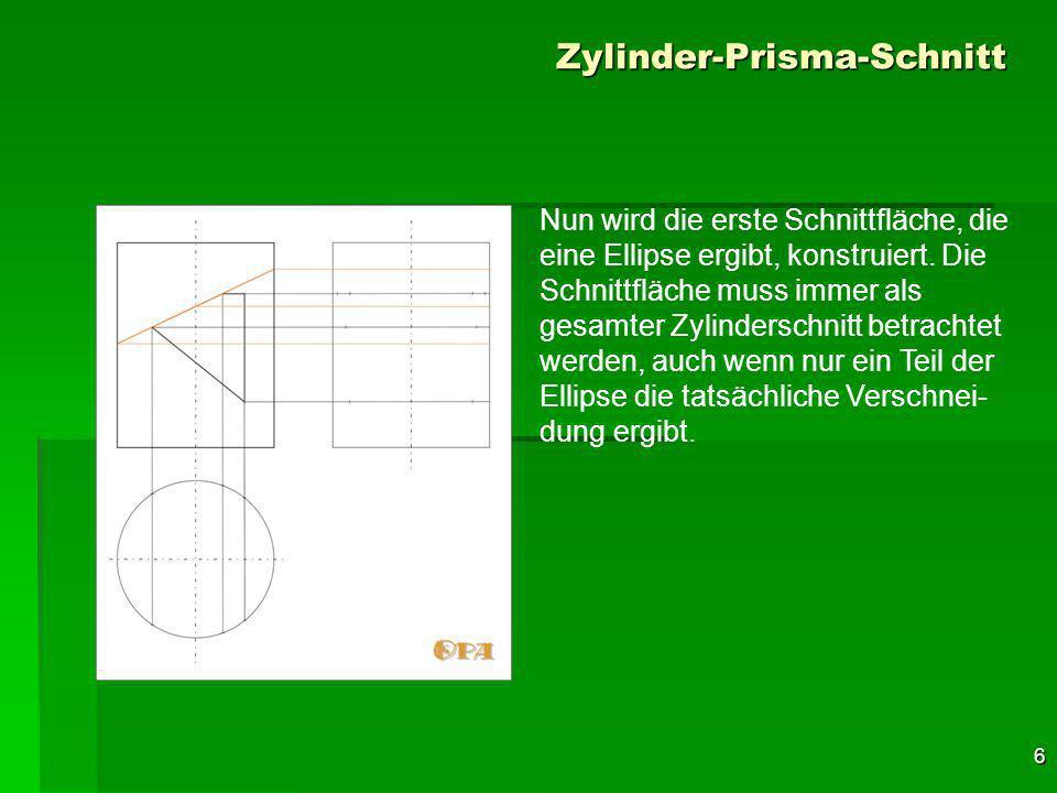 17 Zylinder-Prisma-Schnitt Die gleichen Prinzipien gelten für die untere Ellipse, sie ist im Seitenriss auf der linken Zylinderhälfte sichtbar und auf der rechten unsichtbar.