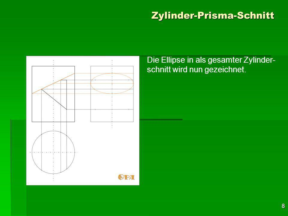 19 Zylinder-Prisma-Schnitt Im Bereich der prismatischen Ausnehmung sind diese Erzeugen- den, die die Grenze der Sichtbarkeit darstellen, unterbrochen.