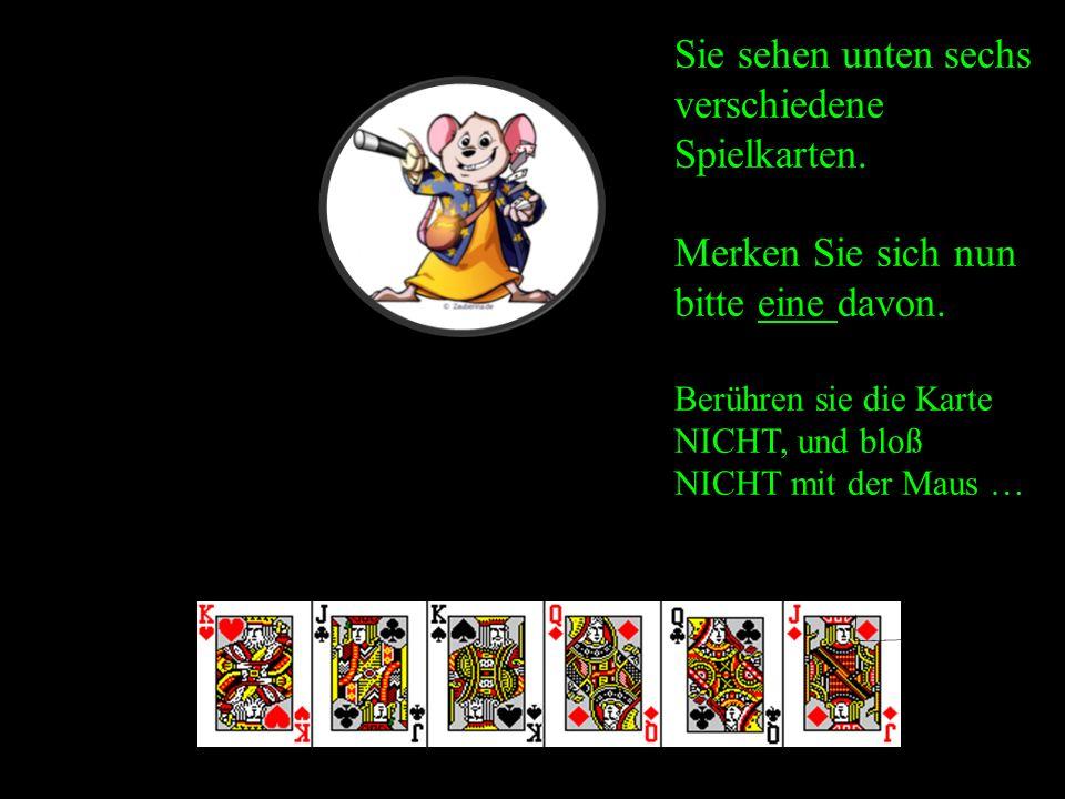 Sie sehen unten sechs verschiedene Spielkarten. Merken Sie sich nun bitte eine davon.