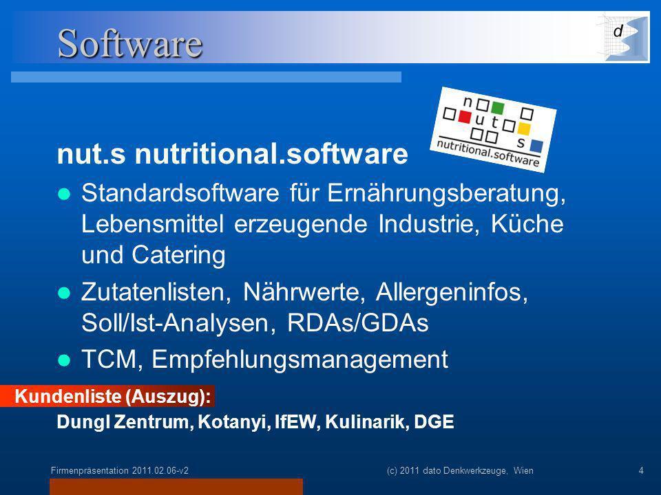 Firmenpräsentation 2011.02.06-v2(c) 2011 dato Denkwerkzeuge, Wien4 Software nut.s nutritional.software Standardsoftware für Ernährungsberatung, Lebensmittel erzeugende Industrie, Küche und Catering Zutatenlisten, Nährwerte, Allergeninfos, Soll/Ist-Analysen, RDAs/GDAs TCM, Empfehlungsmanagement Kundenliste (Auszug): Dungl Zentrum, Kotanyi, IfEW, Kulinarik, DGE