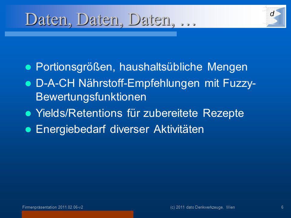 Firmenpräsentation 2011.02.06-v2(c) 2011 dato Denkwerkzeuge, Wien6 Daten, Daten, Daten, … Portionsgrößen, haushaltsübliche Mengen D-A-CH Nährstoff-Empfehlungen mit Fuzzy- Bewertungsfunktionen Yields/Retentions für zubereitete Rezepte Energiebedarf diverser Aktivitäten