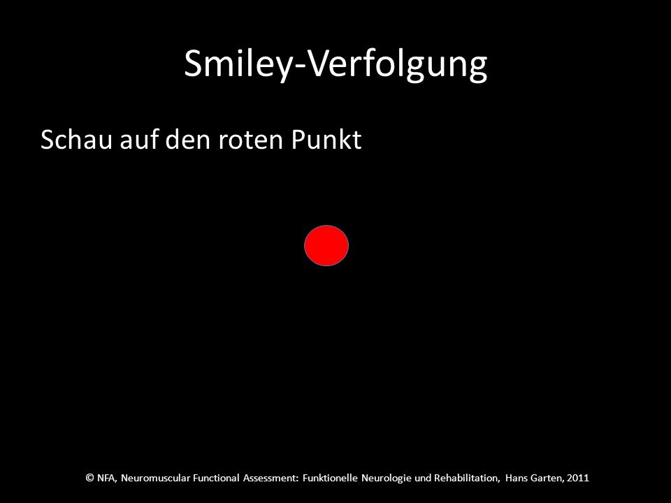 © NFA, Neuromuscular Functional Assessment: Funktionelle Neurologie und Rehabilitation, Hans Garten, 2011 Smiley-Verfolgung Der war richtig