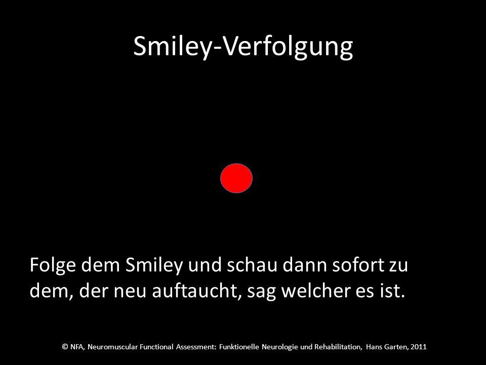 © NFA, Neuromuscular Functional Assessment: Funktionelle Neurologie und Rehabilitation, Hans Garten, 2011 Smiley-Verfolgung Schau auf den roten Punkt