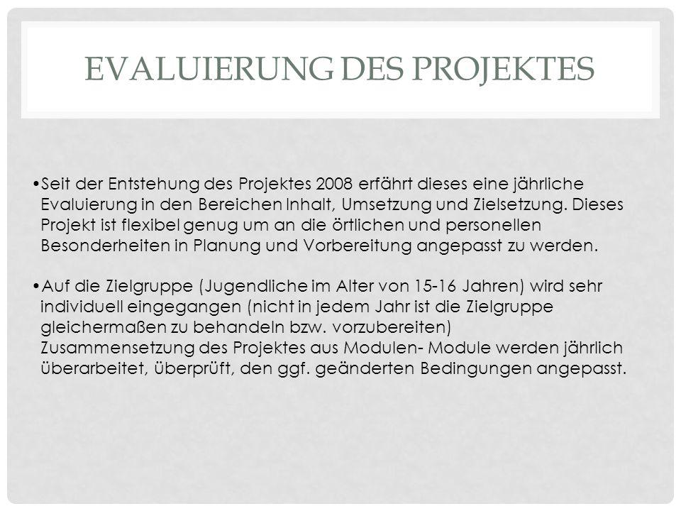 EVALUIERUNG DES PROJEKTES Seit der Entstehung des Projektes 2008 erfährt dieses eine jährliche Evaluierung in den Bereichen Inhalt, Umsetzung und Ziel