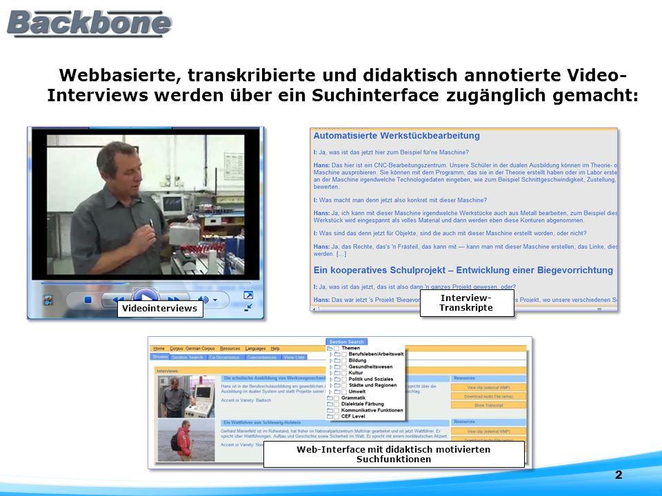 2 Videointerviews Webbasierte, transkribierte und didaktisch annotierte Video- Interviews werden über ein Suchinterface zugänglich gemacht:
