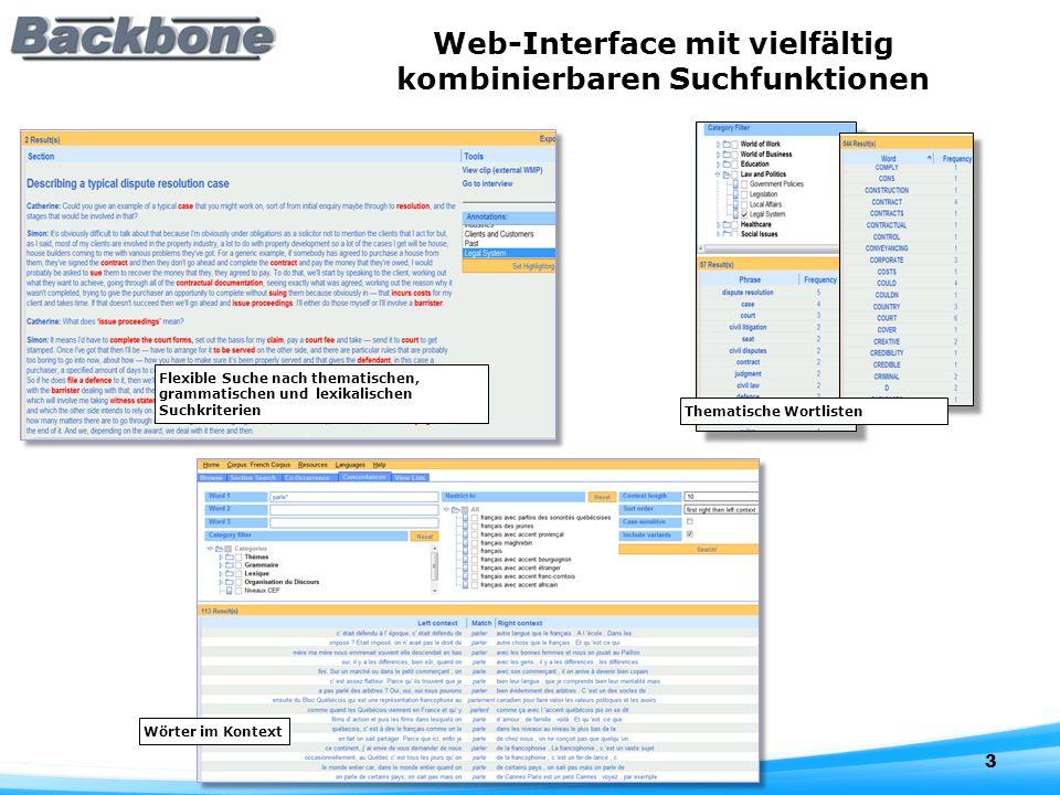 Web-Interface mit vielfältig kombinierbaren Suchfunktionen 3 Wörter im Kontext Thematische Wortlisten Flexible Suche nach thematischen, grammatischen und lexikalischen Suchkriterien