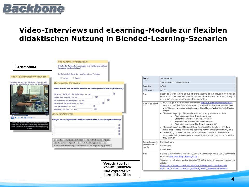 Video-Interviews und eLearning-Module zur flexiblen didaktischen Nutzung in Blended-Learning-Szenarien 4 Lernmodule Vorschläge für kommunikative und explorative Lernaktivitäten