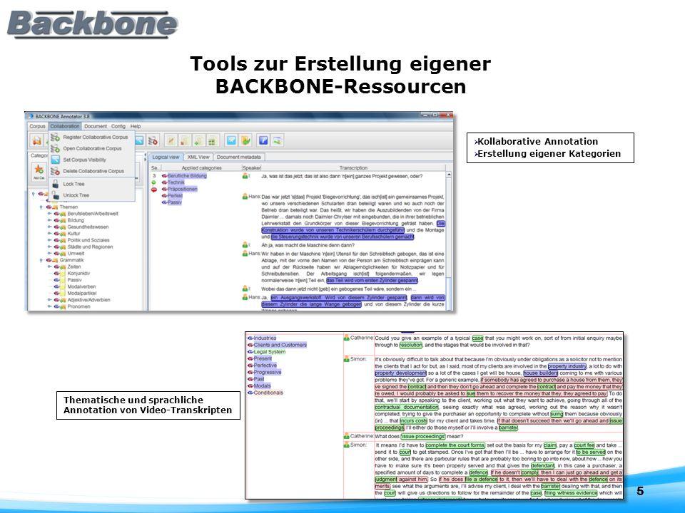 Tools zur Erstellung eigener BACKBONE-Ressourcen 5 Kollaborative Annotation Erstellung eigener Kategorien Thematische und sprachliche Annotation von Video-Transkripten