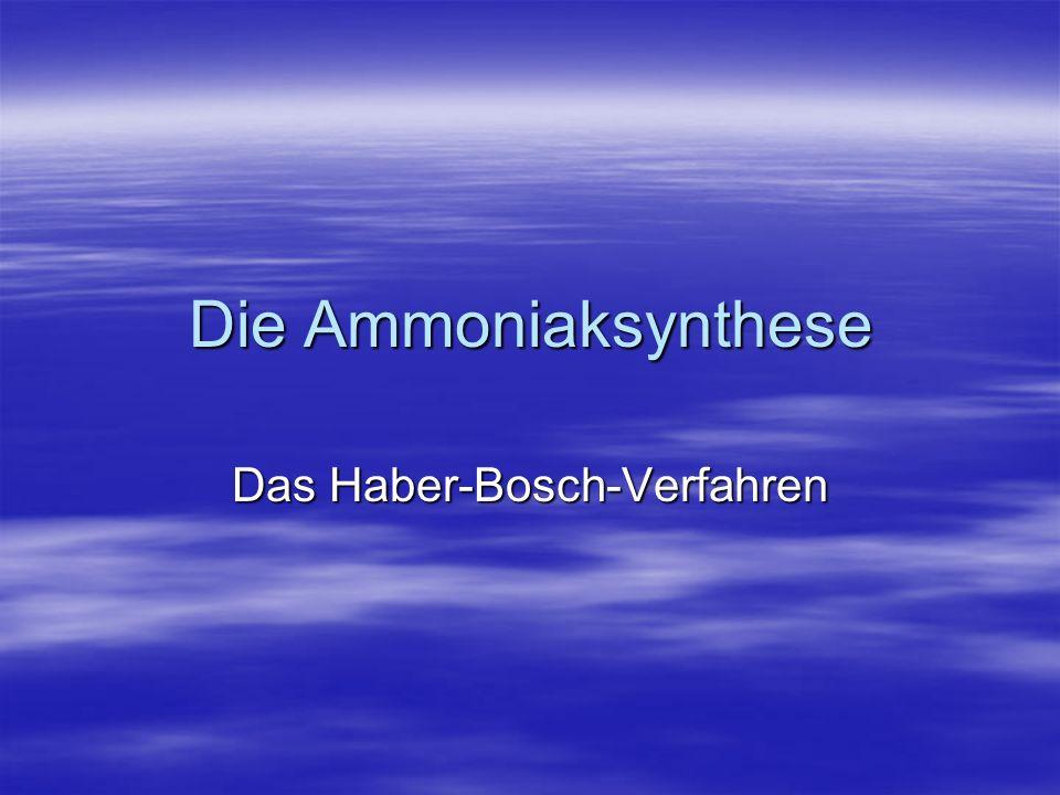 Ammoniak NH 3 NH 3 Siedepunkt: -33°C Siedepunkt: -33°C Stark riechendes, giftiges Gas Stark riechendes, giftiges Gas Leichter als Luft Leichter als Luft Sehr gut wasserlöslich Sehr gut wasserlöslich Reagiert alkalisch Reagiert alkalisch Jährliche Produktion: 120 Mio Tonnen Jährliche Produktion: 120 Mio Tonnen