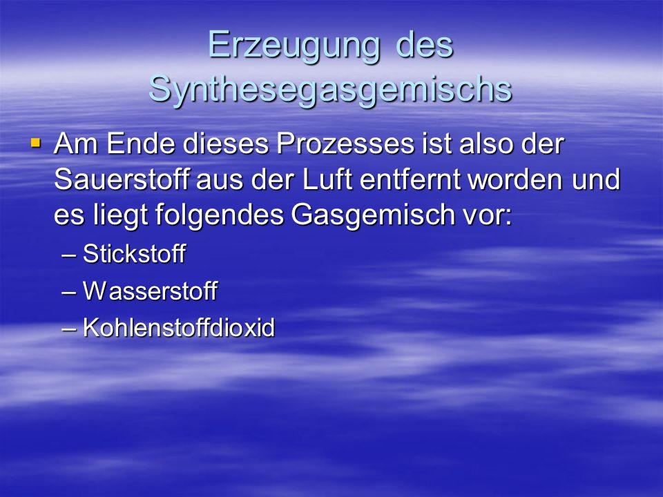 Erzeugung des Synthesegasgemischs Am Ende dieses Prozesses ist also der Sauerstoff aus der Luft entfernt worden und es liegt folgendes Gasgemisch vor: