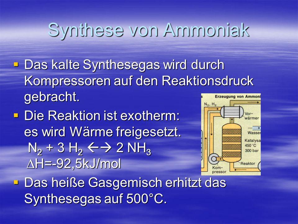 Synthese von Ammoniak Das kalte Synthesegas wird durch Kompressoren auf den Reaktionsdruck gebracht. Das kalte Synthesegas wird durch Kompressoren auf