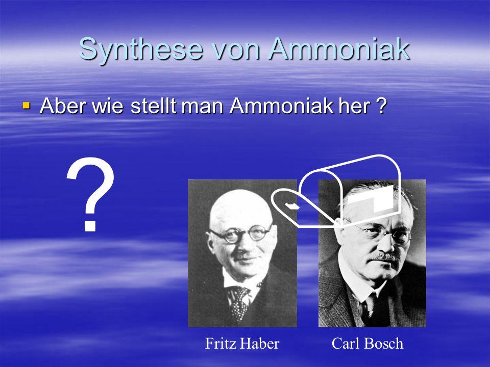 Synthese von Ammoniak Aus den Elementen Stickstoff und Wasserstoff: N 2 + 3 H 2 2 NH 3 H=-92,5kJ/mol Hin-Reaktion: exotherm Erhöhung der Temperatur: Beschleunigung des Erreichens des GGWs aber: GGW verschiebt sich nach links Also: bei möglichst tiefer Temperatur arbeiten
