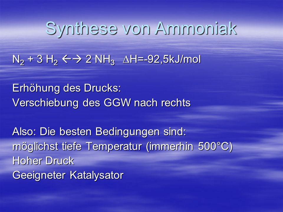 Synthese von Ammoniak N 2 + 3 H 2 2 NH 3 H=-92,5kJ/mol Erhöhung des Drucks: Verschiebung des GGW nach rechts Also: Die besten Bedingungen sind: möglic