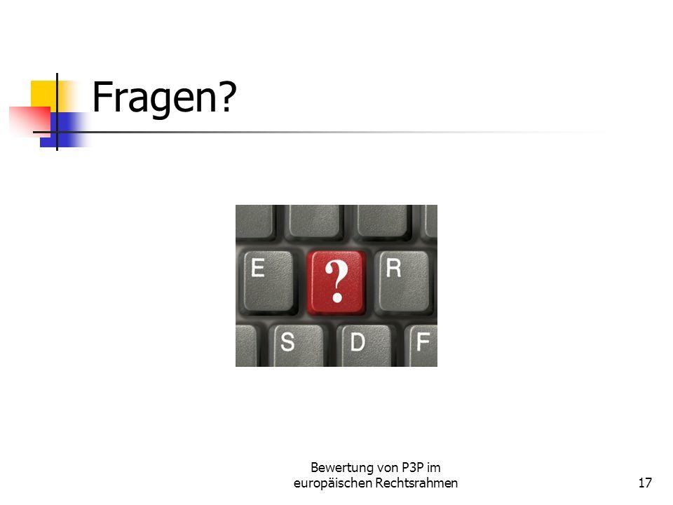 Bewertung von P3P im europäischen Rechtsrahmen17 Fragen
