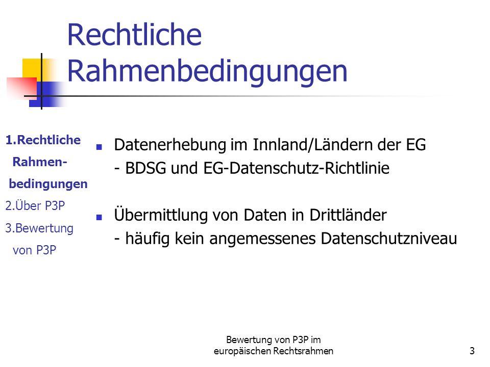 Bewertung von P3P im europäischen Rechtsrahmen3 Rechtliche Rahmenbedingungen Datenerhebung im Innland/Ländern der EG - BDSG und EG-Datenschutz-Richtlinie Übermittlung von Daten in Drittländer - häufig kein angemessenes Datenschutzniveau 1.Rechtliche Rahmen- bedingungen 2.Über P3P 3.Bewertung von P3P