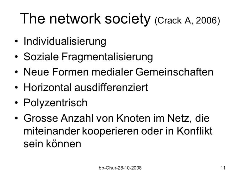 bb-Chur-28-10-200811 The network society (Crack A, 2006) Individualisierung Soziale Fragmentalisierung Neue Formen medialer Gemeinschaften Horizontal ausdifferenziert Polyzentrisch Grosse Anzahl von Knoten im Netz, die miteinander kooperieren oder in Konflikt sein können