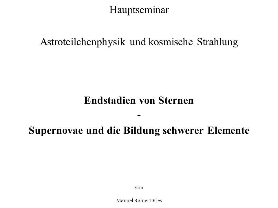 Hauptseminar Astroteilchenphysik und kosmische Strahlung Endstadien von Sternen - Supernovae und die Bildung schwerer Elemente von Manuel Rainer Dries