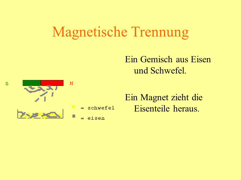 Magnetische Trennung Ein Gemisch aus Eisen und Schwefel. Ein Magnet zieht die Eisenteile heraus.