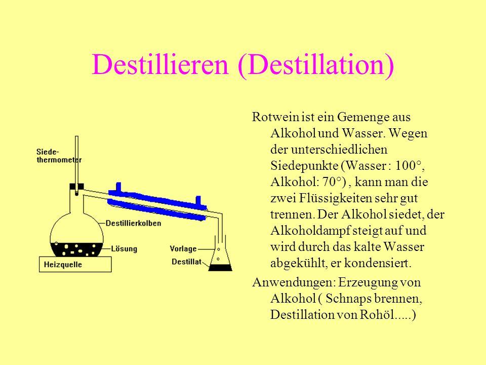 Destillieren (Destillation) Rotwein ist ein Gemenge aus Alkohol und Wasser. Wegen der unterschiedlichen Siedepunkte (Wasser : 100°, Alkohol: 70°), kan