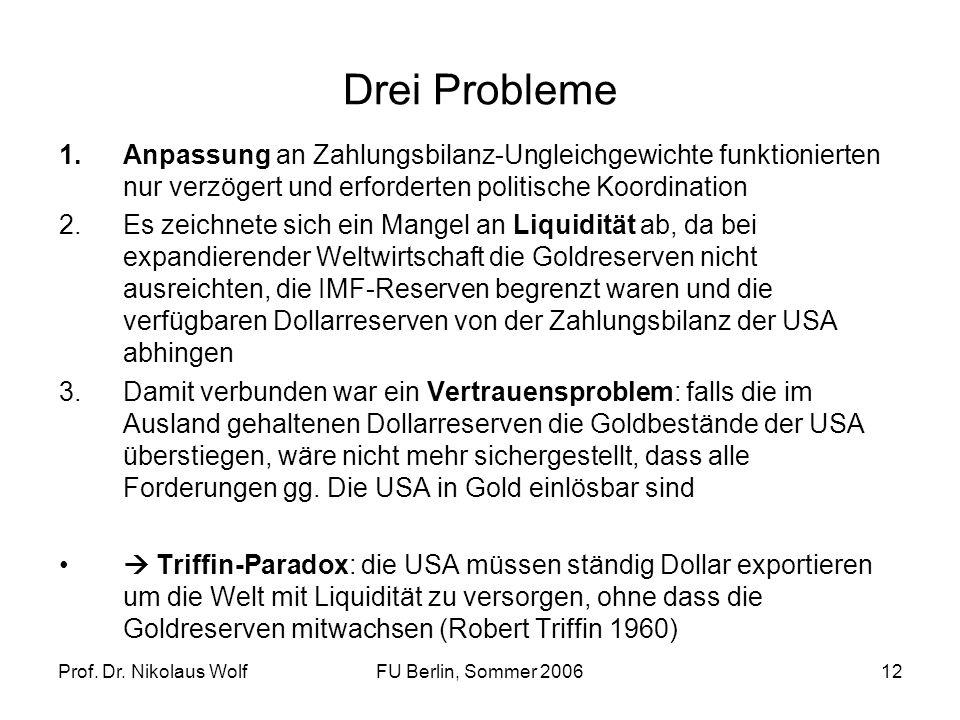 Prof. Dr. Nikolaus WolfFU Berlin, Sommer 200612 Drei Probleme 1.Anpassung an Zahlungsbilanz-Ungleichgewichte funktionierten nur verzögert und erforder