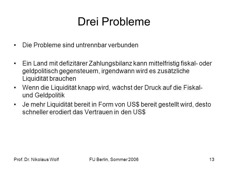 Prof. Dr. Nikolaus WolfFU Berlin, Sommer 200613 Drei Probleme Die Probleme sind untrennbar verbunden Ein Land mit defizitärer Zahlungsbilanz kann mitt