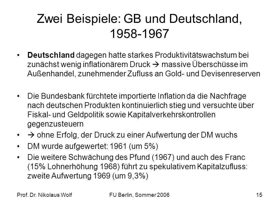 Prof. Dr. Nikolaus WolfFU Berlin, Sommer 200615 Zwei Beispiele: GB und Deutschland, 1958-1967 Deutschland dagegen hatte starkes Produktivitätswachstum