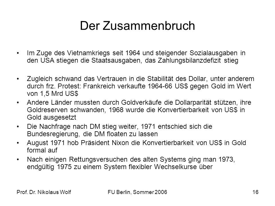 Prof. Dr. Nikolaus WolfFU Berlin, Sommer 200616 Der Zusammenbruch Im Zuge des Vietnamkriegs seit 1964 und steigender Sozialausgaben in den USA stiegen