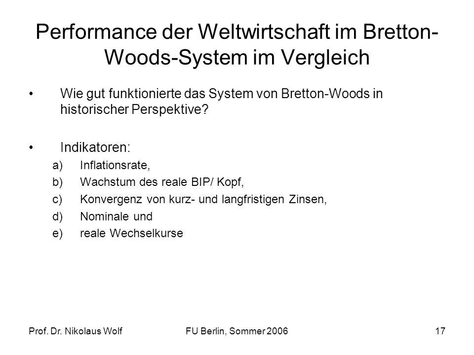 Prof. Dr. Nikolaus WolfFU Berlin, Sommer 200617 Performance der Weltwirtschaft im Bretton- Woods-System im Vergleich Wie gut funktionierte das System