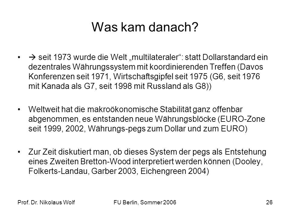 Prof. Dr. Nikolaus WolfFU Berlin, Sommer 200626 Was kam danach? seit 1973 wurde die Welt multilateraler: statt Dollarstandard ein dezentrales Währungs