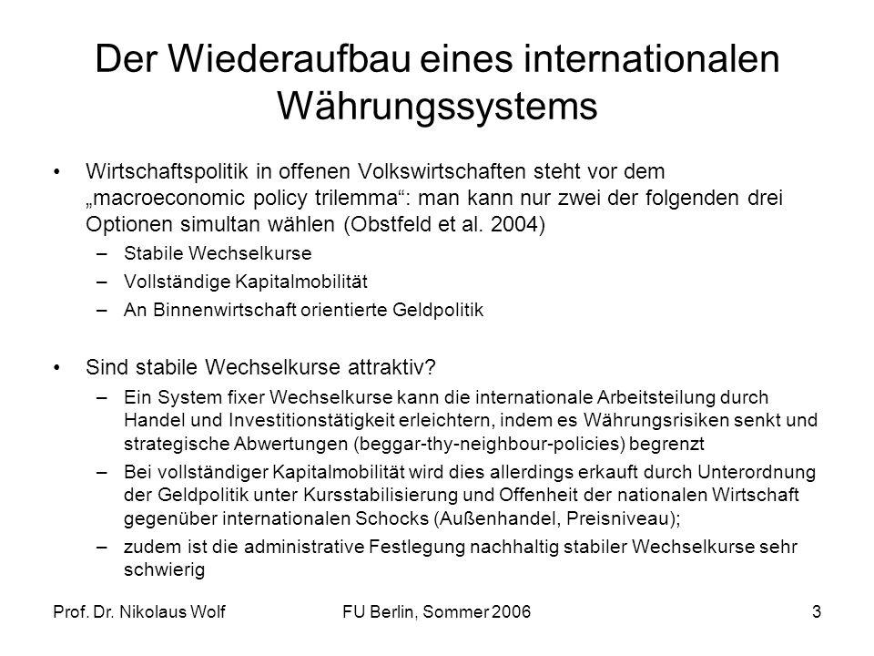 Prof. Dr. Nikolaus WolfFU Berlin, Sommer 20063 Der Wiederaufbau eines internationalen Währungssystems Wirtschaftspolitik in offenen Volkswirtschaften